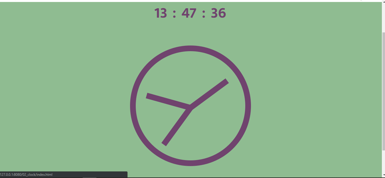 Screenshot of the clock project