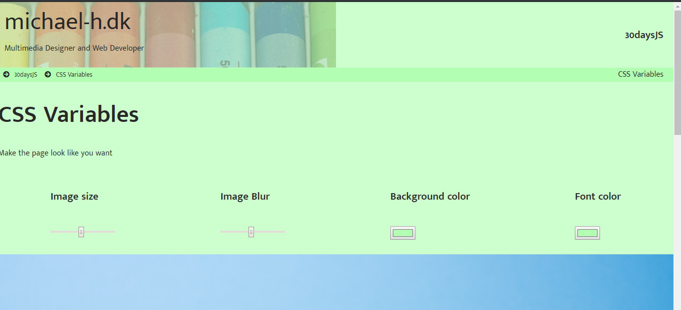 Screenshot of the Css Variables project